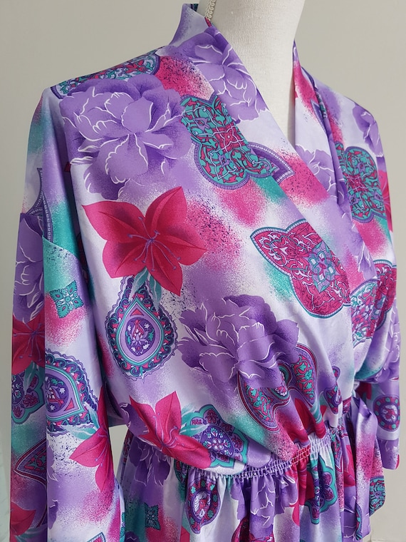 Vintage Colourful Purple Full Length Dressing Gown