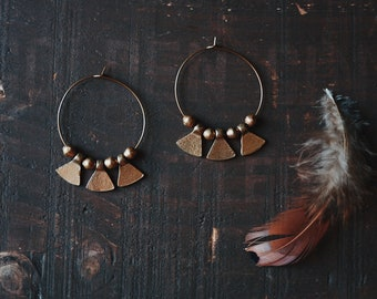 rhea. a pair of tribal boho brass hoop earrings