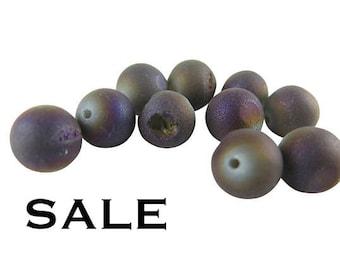 Grey Titanium Electroplated Druzy Quartz Beads - (6x) (NS621) SALE - 25% off