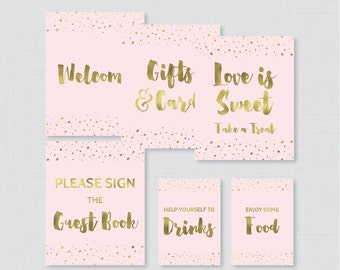 Pink and Gold Bridal Shower Table Signs - Printable Pink and Faux Gold Foil Bridal Shower Decorations - Welcome Sign, Favor Sign, etc 0010-P