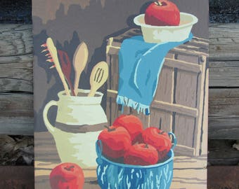Vintage Paint by Number Apples Kitchen Still Life Craft Master 1981 PBN Unframed Painting
