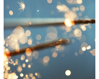 Spark - Summer Photograph - Sparkler - Light - Original Fine Art Photograph - Lights - Sparkle - Alicia Bock - Blue - Oversized Art