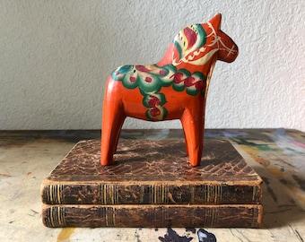 Vintage dala horse, vintage small dala horse, nils olsson,  swedish dala horse,  red painted horse figurine, dalecarlian horse sweden
