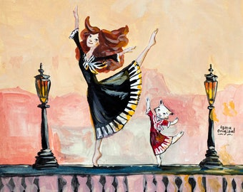 Paris Dance Original Acrylics Illustration - by Asma Original