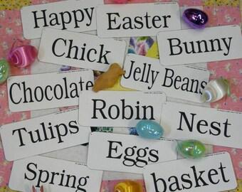 12 Large Easter Flash Cards - PDF vintage like altered art signs chick bunny egg spring words pretty scrapbooking digital uprint primitive