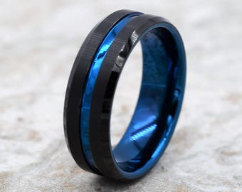 Marvelous Tungsten Wedding Band, Menu0027s Black Wedding Band, Black Tungsten Ring,  Tungsten, Tungsten Band, Personalized Engraving, Blue Tungsten Ring