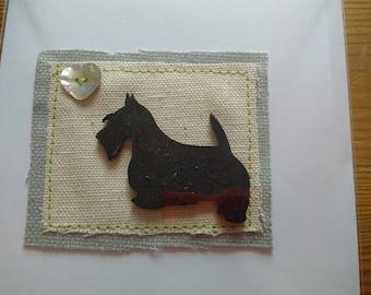 Black Scottish Terrier greetings card