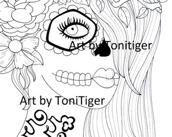 Adult Coloring Page Sugar Skull Girl Art Instant Download Printable Day Of The Dead Digital