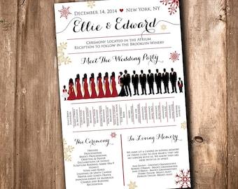 Winter Wedding Silhouette Program Party Snowflake Meet The Bridal Fan Printable