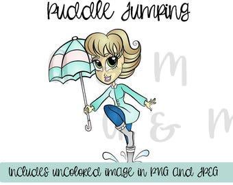 Digital Stamp, Puddles, Rain, Spring, Umbrella, Cardmaking, Puddle Jumping Angela Digi