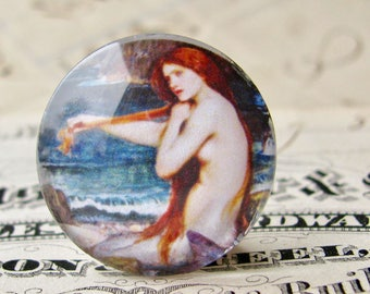 """John William Waterhouse """"A Mermaid"""" 25mm glass cabochon, handmade in this shop, Art History collection, 1 inch circle, bottle cap size"""