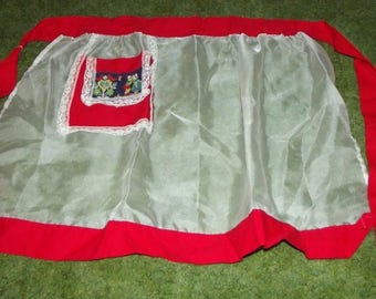 Vintage 1950s Half Apron Sheer with Red Trim and Pocket