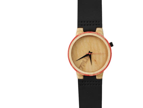 7PLIS watch #095 Recycled SKATEBOARD #madeinfrance beige wood red black