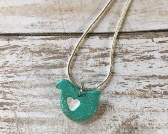 Tiny blue love bird necklace, polymer clay blue bird charm necklace, bird charm