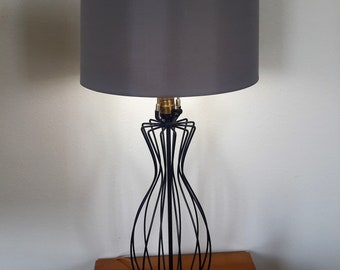 Mid Century Atomic Caged Wire Lamp Tony Paul or Style 1950's / 60's 3 Way Lighting