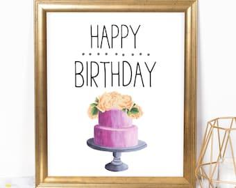 Happy Birthday Cake 8x10 Printable, Instant Download, Birthday Printable, Birthday Poster, Cake Party Sign, Dessert Bar, Girl Birthday Decor