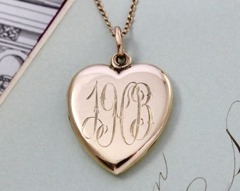 Antique Gold Heart Locket Necklace, Edwardian 14k Yellow Gold Engraved Monogram Initials M.A.W. Dated 1903, Bridal Jewelry Gift