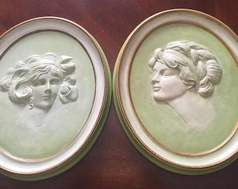 Vintage Duncan Ceramic Prod.  Inc. 1975 - Erma Gilliland Duncan 1909 & 1910 Cameos - Set of 2