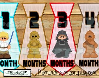 Galaxy wars Tie Monthly Stickers Baby boy month Stickers infant Sticker Infant Neck tie Baby Boy Star Jedi Necktie baby shower gift PRECUT