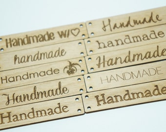 "Wooden tags ""handmade "" assorted fonts Set of  10"