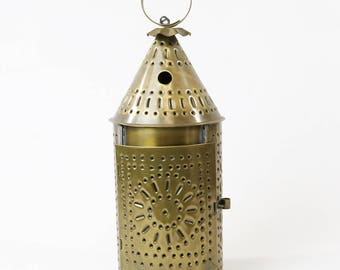 Vintage Punched Tin Candle Holder Lantern With Candle Primitive Farmhouse