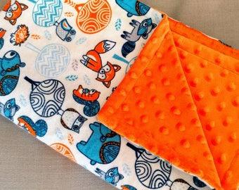 Orange and Blue Woodland Creatures Baby Blanket