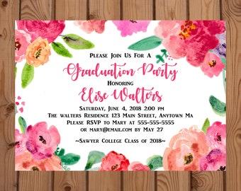 Floral Graduation Invitation, Floral Graduation Announcement, Watercolor Floral Invitation, Graduation Invitation, 2018 Graduation Invite