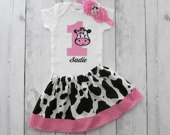 First Birthday Outfit in Cow print and Pink Gingham - cow 1, girl birthday outfit, cowgirl, farm animal, personalized, barnyard