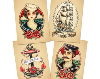"Old School Tattoo. A set of 4 Prints. 13 x18 cm. (5"" x 7"")"