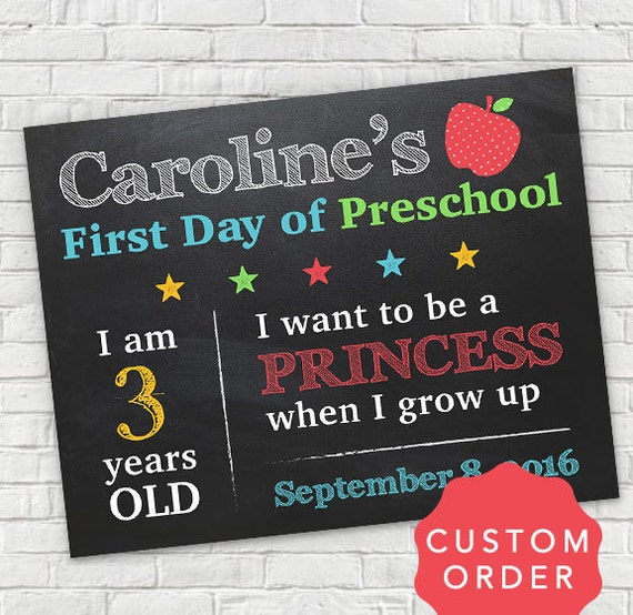 Personalized First Day Of School Sign Personalized School