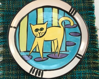 Pottery plate set with cats - hand built slabs - 1960 cartoon styled cats - under glazed red earthenware