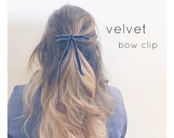 Baguette bow,hair bow clip,velvet bow,sleek,chic,mini velvet clip,thin bow clip,double bow,hair accessories,velvet barrette,valentines day