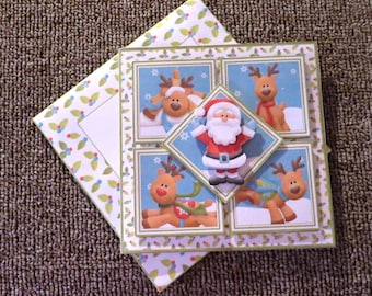 Santa & Co. square Christmas card with matching insert and envelope.