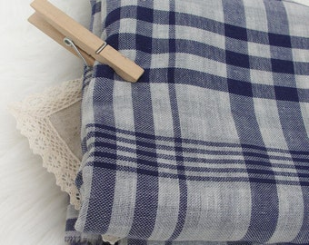 "Soft Cotton Double Gauze Blue Plaid - 59"" Wide - By the Yard 54363"