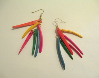 Vintage 80's Rainbow Coconut Earrings DEADSTOCK