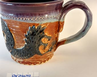 Dragon mug ,carved,#305