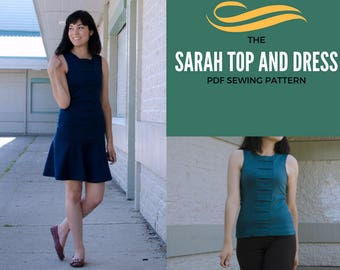 Sarah Dress and Top pattern: Instant PDF Sewing Pattern and tutorial