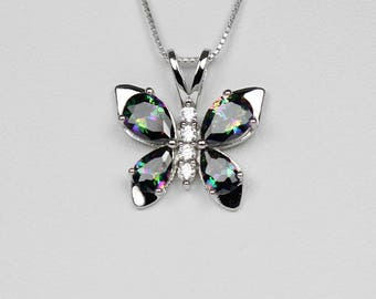 Mystic Topaz Sterling Silver Necklace with Diamond Accents / Mystic Topaz Necklace Silver