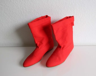 VINTAGE Ankle Boots Red Fabric Size 6.5 Womens Shoes