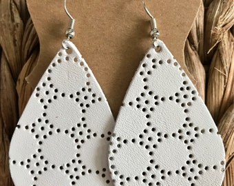 White perforated leather earrings   dots and circles   leather earrings   lightweight leather earrings   gifts for her