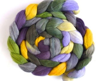 Forsythia and Rain, Rambouillet Wool Roving - Hand Painted Spinning Fiber
