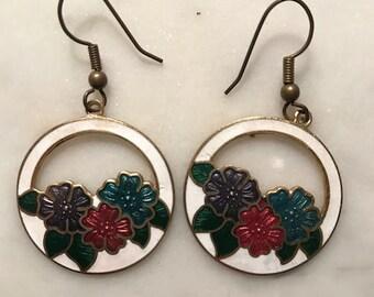 Vintage Cloisonné Floral Cut Out Dangle Drop Earrings