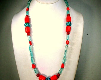 Red & Turquoise Glass Bead Necklace, Single Strand, OOAK by Rachelle Starr 2018,  Happy Colors