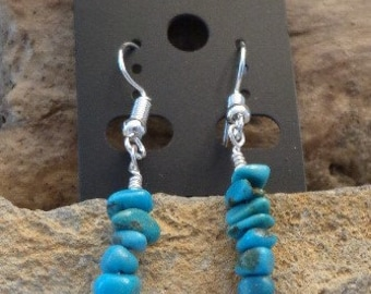 American mined Turquoise nugget earrings.  Silver plate findings