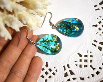 earrings christmas gift for women jewelry resin crystal earrings drop earrings turquoise earrings moss terrarium black friday cyber monday