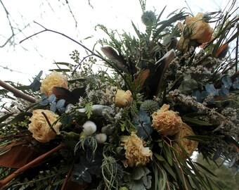 dried flower bouquet, dried blue bridal bouquet, thistle bouquet, lavender bouquet, rosegold bridal bouquet, rosegold and navy, light blue