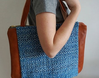 Large Blue Tote Shoulder Bag