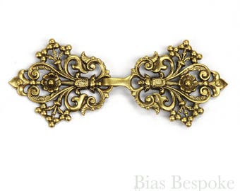 """Antique Gold """"Odile"""" Arabesque and Flower Clasp, 3 3/8"""", Made in France"""