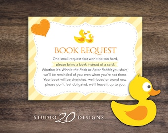 Instant Download Rubber Duck Book Request, Yellow Duck Book in Lieu of Card, Rubber Ducky Baby Shower Book Instead of Card 29A