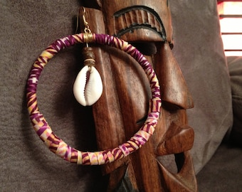 Maxi earrings African wax and cowries